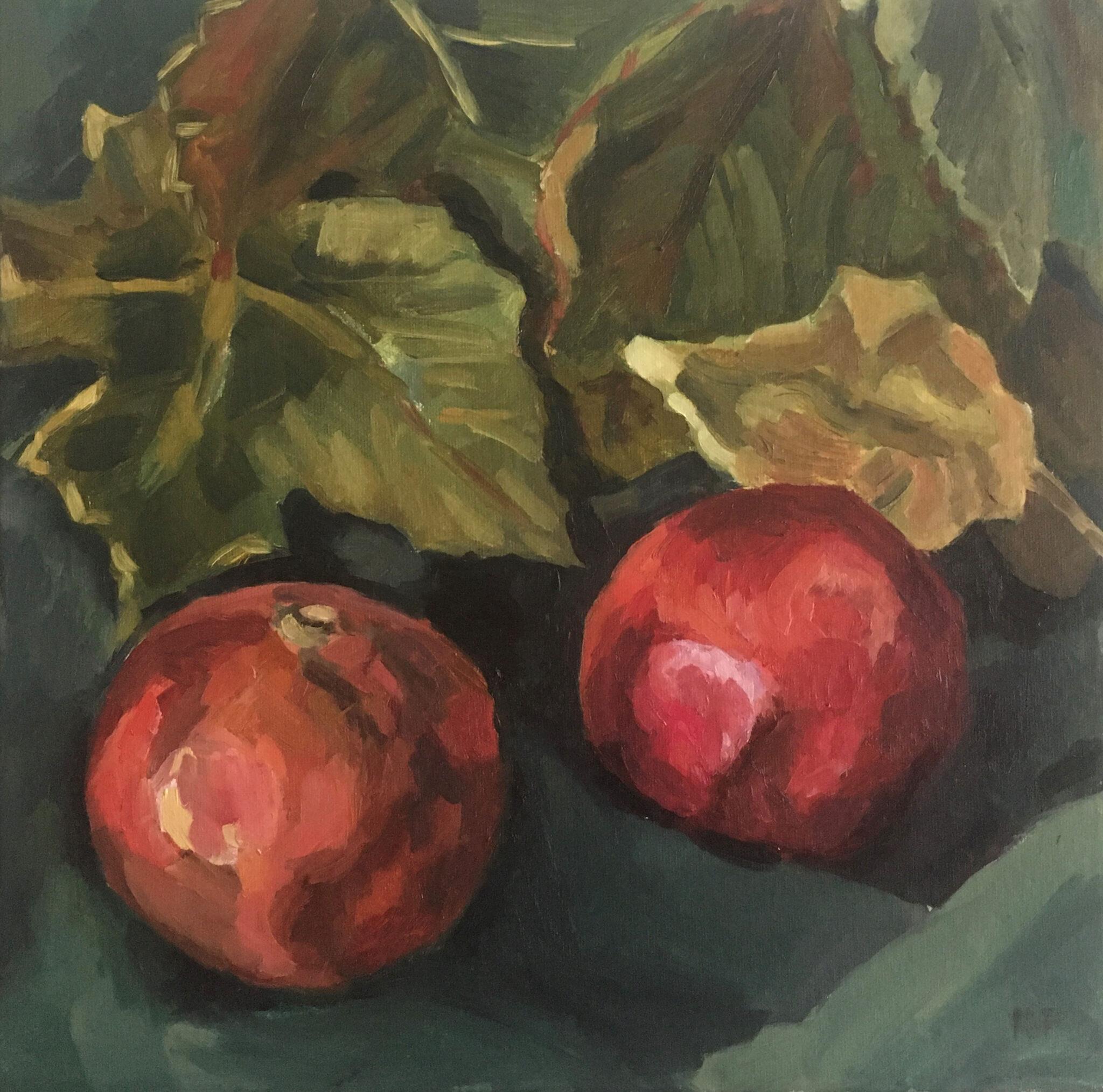 Pomegranates and autumn leaves